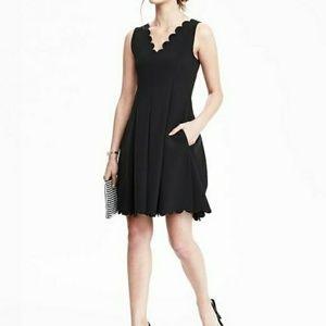 Banana Republic scallops black fit & flare dress
